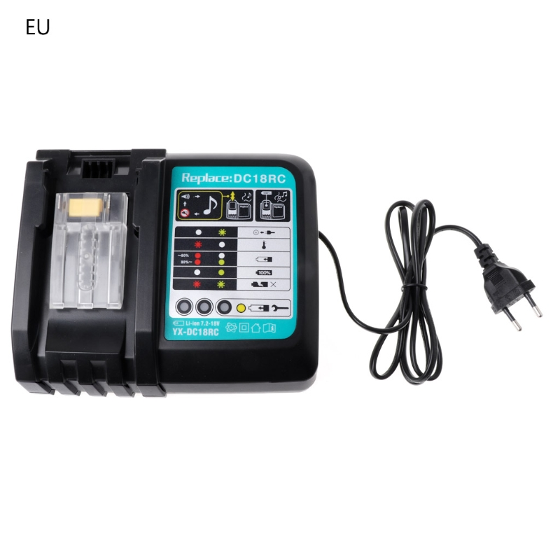3A Li-ion Battery Charger For Makita DC18RC BL1830 BL1815 BL1840 BL1850 14.4-18V  EU/US Plug3A Li-ion Battery Charger For Makita DC18RC BL1830 BL1815 BL1840 BL1850 14.4-18V  EU/US Plug