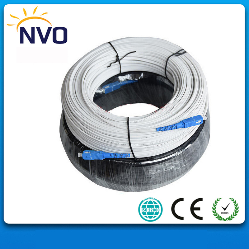 50M FTTH Fiber Optic Drop Cable Patch Cord SC/UPC to SC/UPC Duplex Singlemode G657A1 Black GJXH Fiber Optic Jumper ...