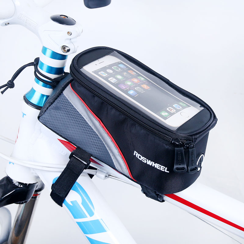 5.5 /4.8 /4.2 Inches Front Roswheel Bike Frame Bag Cell Phone Case Cycling Pouch Touch Screen Mtb Bycicle Bicycle Basket 12496