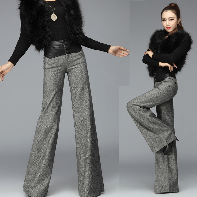 European Style XXXL Winter Fall Formal Womens Wide Leg Woolen Trousers  Designer PU Leather ...
