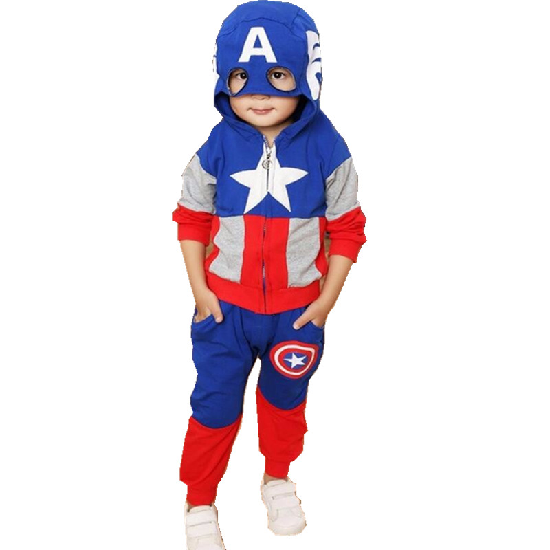 Captain America Kids Clothes Set Fashion Cartoon Children Boys Tracksuits Hooded Tops Pants Two Pieces Outfits Spring Sport Suit new fashion boys cartoon locomotive set thomas
