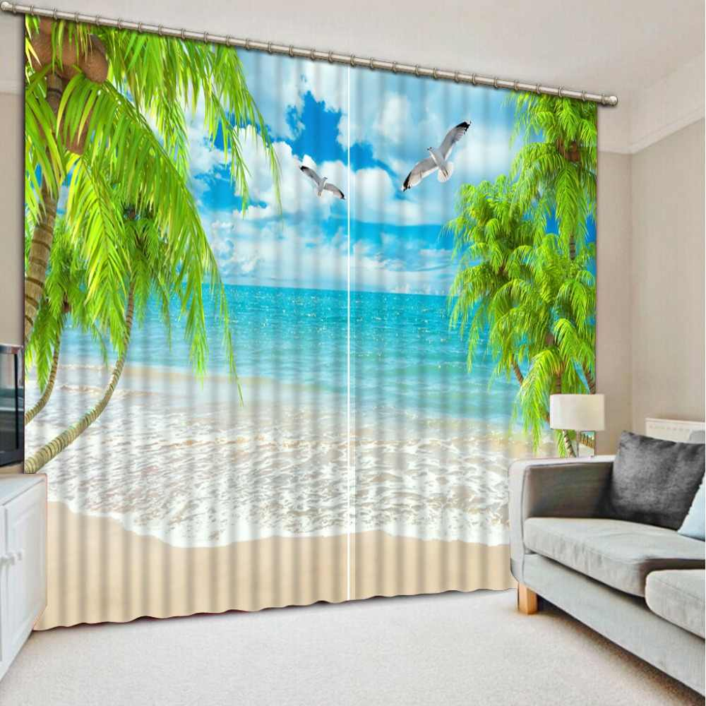 custom 3d photo curtains Coconut Beach 3d curtains for living room rideaux pour le salon European and American Style curtains