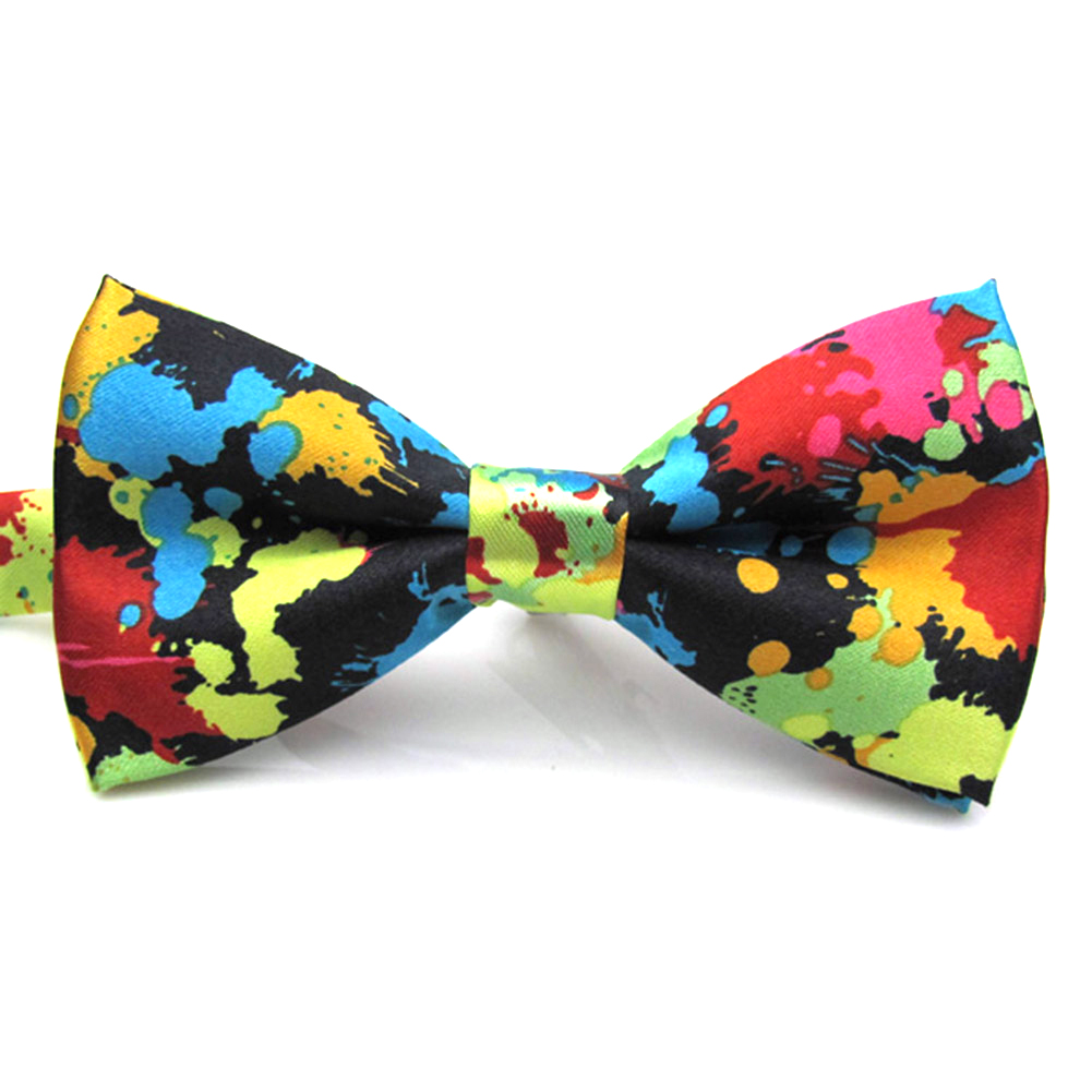 Newest Charming Adjustable Colorful Butterfly Printing Men Bow Ties Wedding