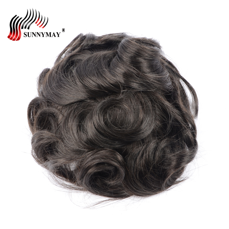 Sunnymay Toupee men 8x10 french lace or Swiss lace , 100% indian remy hair replacement , men toupee free shipping