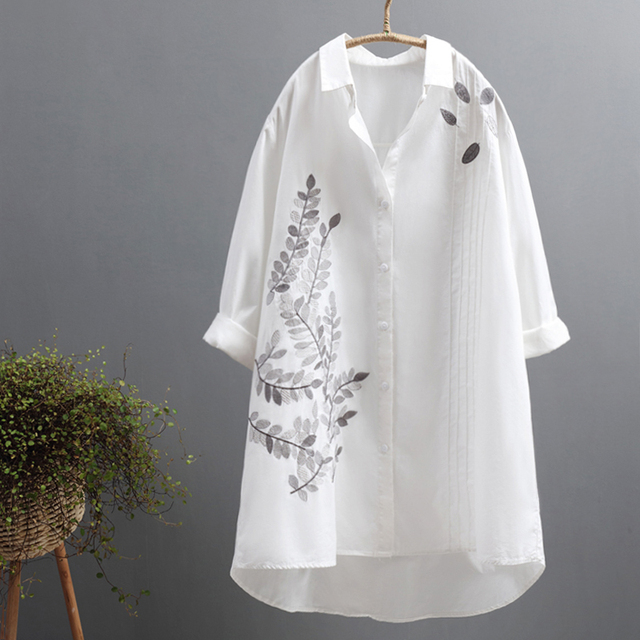 2019 autumn new flower embroidery women long blouse and office lady white shirts casual elegant outwear tops