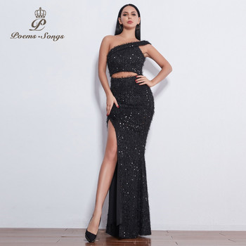 Poems Songs  sexy Personalized  unique glitter shiny  Sequin One shoulder sleeve Evening dresses  formal dress party