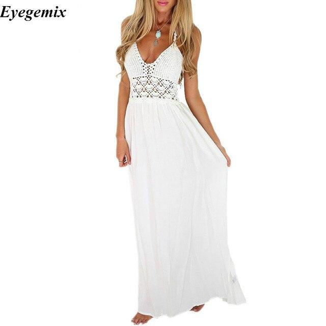 713eecb4c0f6ee Maxi vestidos sommer 2017 damen weiße blumen sexy v-ausschnitt backless  lange strand kleider für