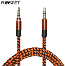 Funsget 1.5M 3.5mm Nylon Braided Aux Audio Cable Male to Male Extension Cable for Car/Headphone/PM4/PM3/Cell Phones