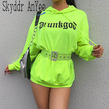 2020 Frühling Frauen Lose Brief Drucken Hoodies Neon Grüne Mode Sweatshirt Mit Kapuze Casual Streetwear Lose Lange Hoodie Damen Top(China)