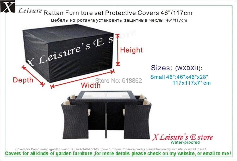 4 seater rattan cube set cover 117x117x71 cm46x46x28