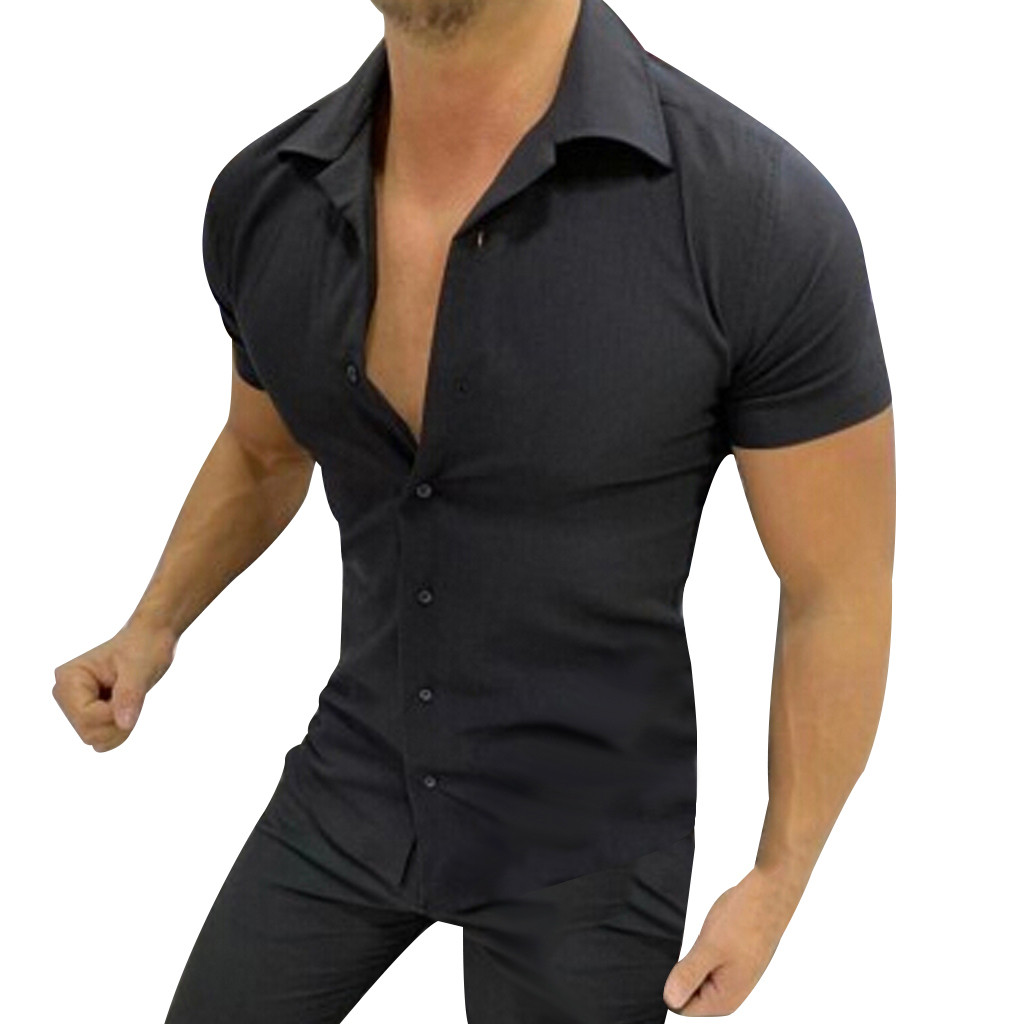 Summer Men Casual Shirt Chemise Homme Pure Color Button Splicing Short Sleeve Turn-Down Collar Shirts Tops Blouse Daily Clothing