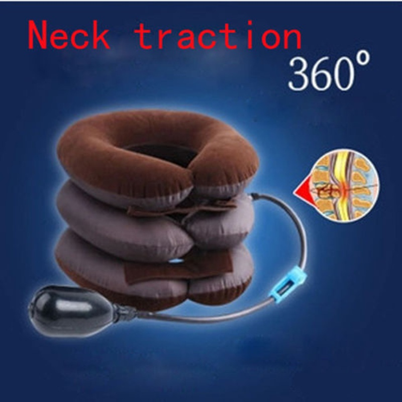 Neck Traction Device Unit Headache Shoulder 3 Layers Pain Relax Soft Brace Support Pillow Inflatable Shoulder Neck Pain Relief