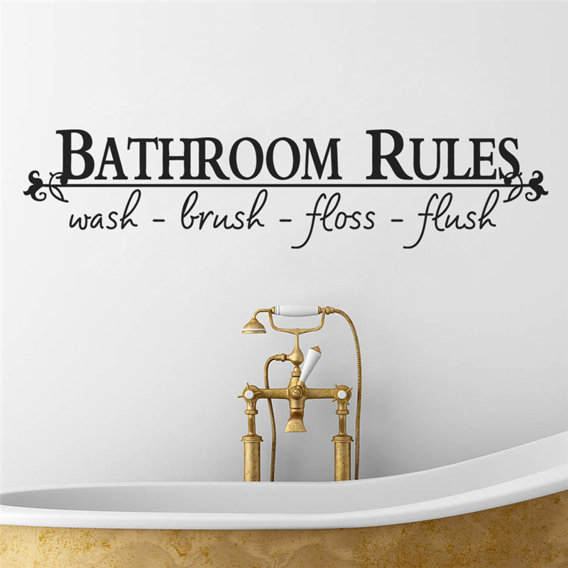 bathroom rules home decor creative quote wall decal decorative