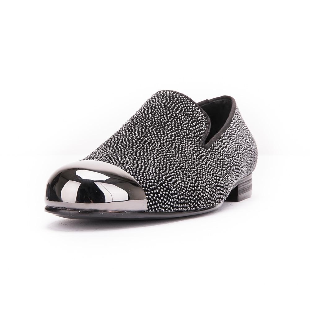 Dot Rauchen Männer Metall Stil Muster Shoes Mit Wohnungen Handarbeit Gray Kappe Schuhe Leder Gun Neue Luxuriöse Müßiggänger I15w7qq