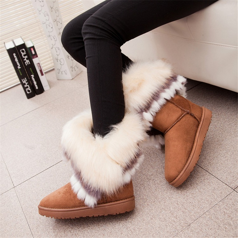 Fox Fur Warm Autumn Winter Wedges Snow Fox Snow Women Australia Boots Shoes GenuineI Mitation Lady Short Boots Casual Long Snow lady short boots tassel fur warm winter wedges snow women boots shoes genuinei mitation casual knitting snow shoes z244