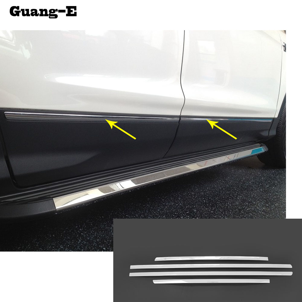 Car styling cover stainless steel Side Door Body trim frame lamp stick Strip Molding part 4pcs for Ford Kuga 2013 2014 2015 2016