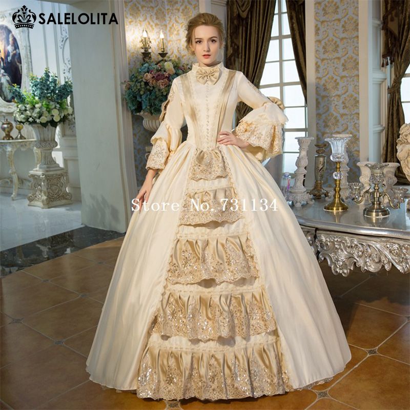 Buy new arrival champagne rococo baroque for Period style wedding dresses