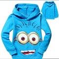 Moda despicable me minion roupas meninos roupas meninas camisas dos miúdos primavera outono com capuz Top Tee minion t camisa roupa das crianças