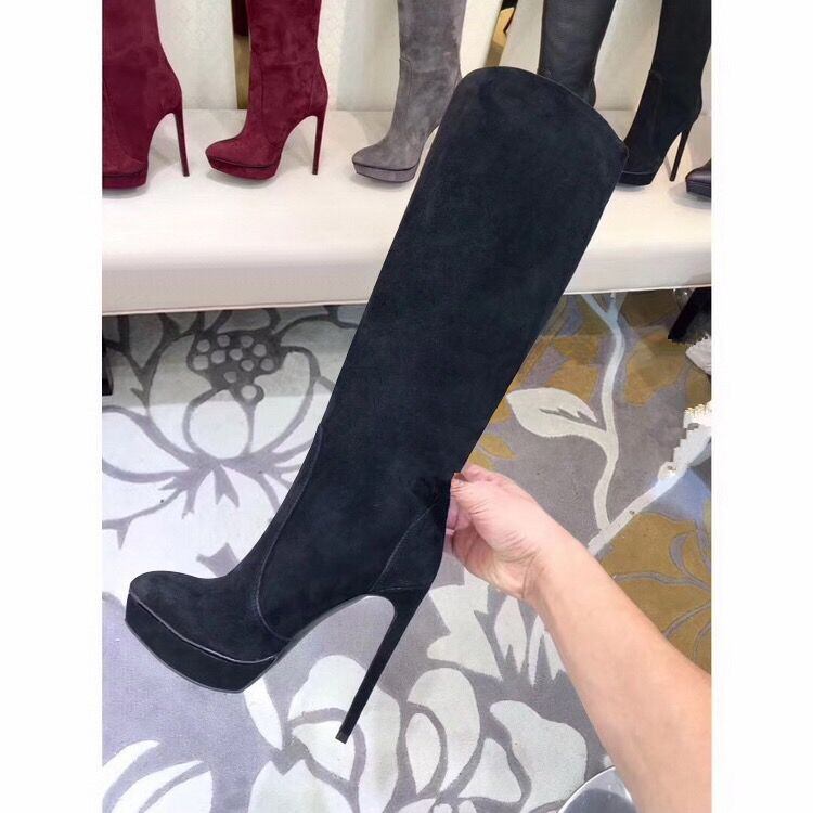 2018 серый ботинки на платформе женская обувь с молнией замшевые Ботфорты высокие сапоги теплые на осень зиму ботинки на платформе обувь на в