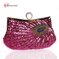 2016 Vintage Women Rhinestone Finger Ring Frame Handbags Purses Beading Sequined Party Clutch Bags Small Shoulder Messenger Bags