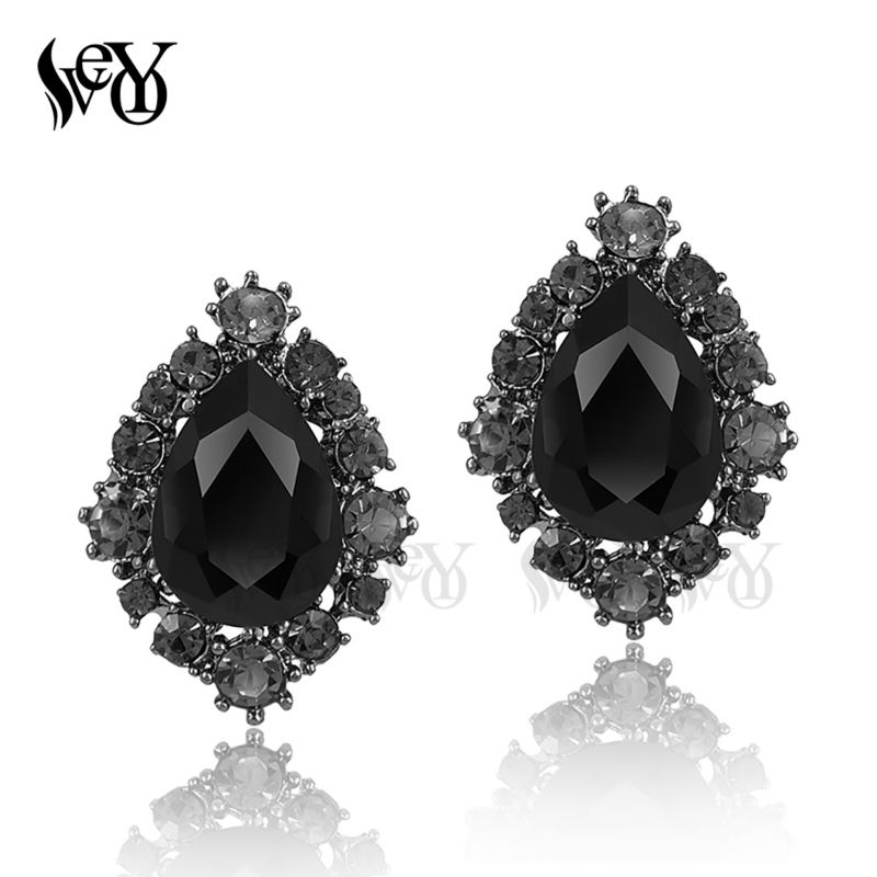 VEYO Round Crystal Stud Earrings for Women Stylish Pendientes Hot Sale Free Shipping Fashion Jewelry