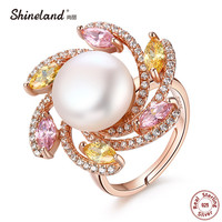 Shineland 13MM Big Natural Freshwater Pearl 100 925 Sterling Silver Luxury Cubic Zirconia Rotatable Finger Rings