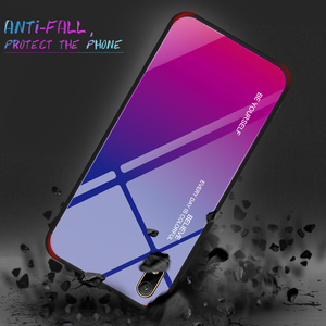 Image 3 - For Honor 8S 8 S Case Gradient Tempered Glass Hard Case TPU Silicone Frame Hard Glass Back Cover for Huawei Y5 2019 Shockproof