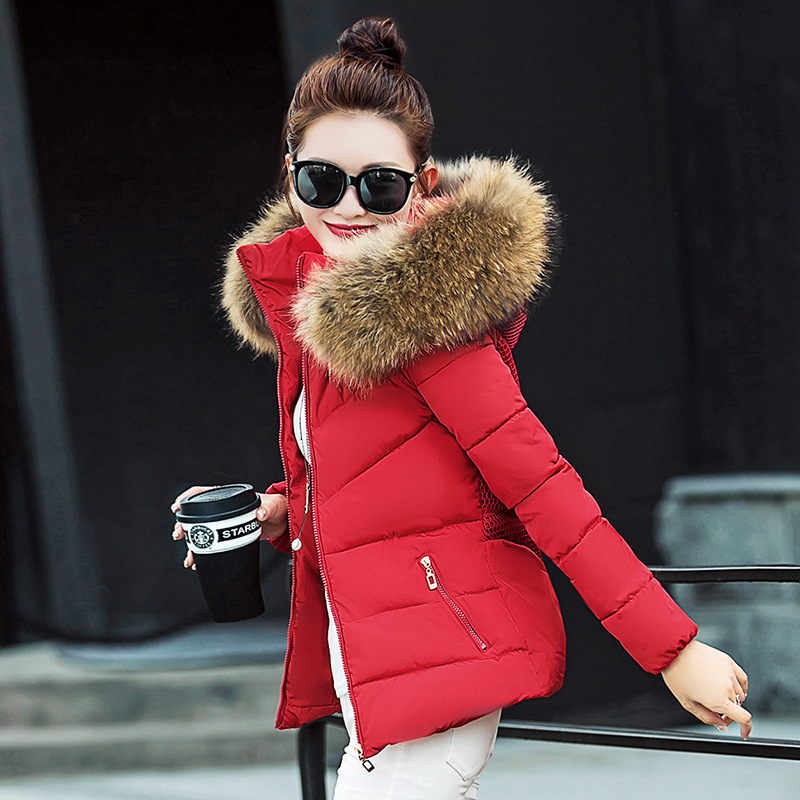 Slim jacket women winter   down   jacket female fashion casual fur collar short overcoat thicken warm woman   coat   with hat 01NYR26