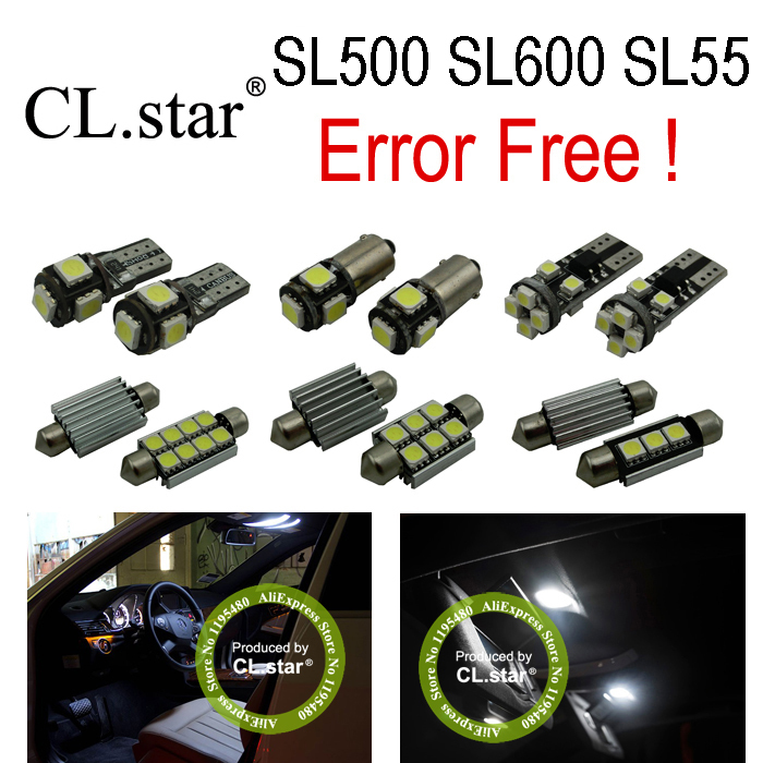 10pc X Error free LED Bulb Interior Light Kit For Mercedes For Mercedes-Benz SL class R230 SL500 SL600 SL55 AMG (02-08) 27pcs led interior dome lamp full kit parking city bulb for mercedes benz cls w219 c219 cls280 cls300 cls350 cls550 cls55amg