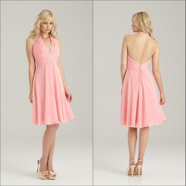 Y Backless Light C Color Short Chiffon Halter Top Bridesmaid Dresses