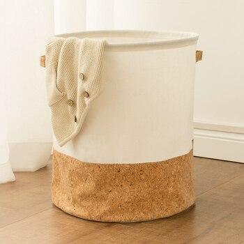 Tyvek laundry basket canvas Toy Storage Box Splice flexible veneer brown paper handbag burlywood Dirty clothes organizer Bin 1