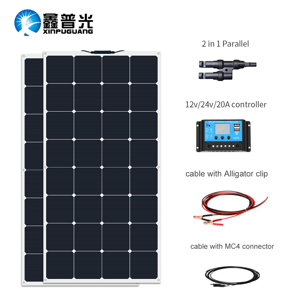 Lovely 200w Flexible Solar Panel Mono System+20a Mppt Controller For Outdoor Home Yatch Home & Garden