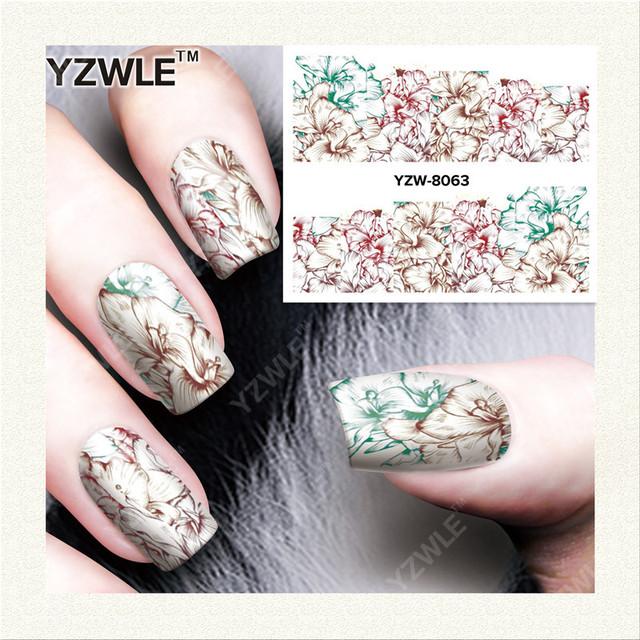 YZWLE 1 Sheets Nước Chuyển Phụ Nữ Full Bìa Sticker Nail Art Decals Nail Art Vẻ Đẹp Đầy Màu Sắc Trang Trí Hoa Ba Lan Mẹo