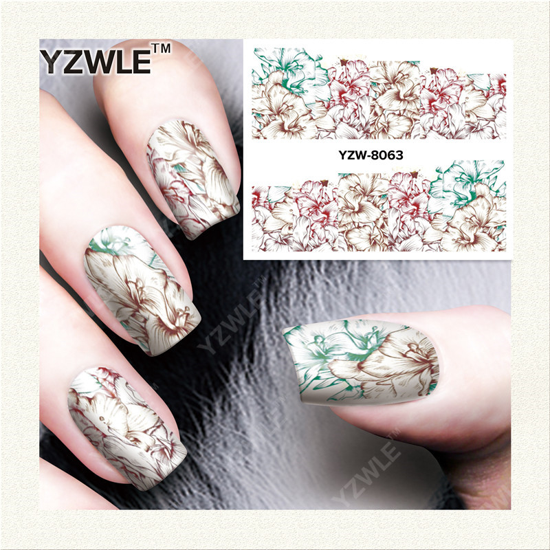 YZWLE 1 Sheets Water Transfer Women Full Cover Sticker Nail Art Decals Nail Art Beauty Colorful Flower Decorations Polish Tips 12x sexy colorful full cover nail art polish sticker metal adhesive foils patch diy beauty nail art tools y stzj 18
