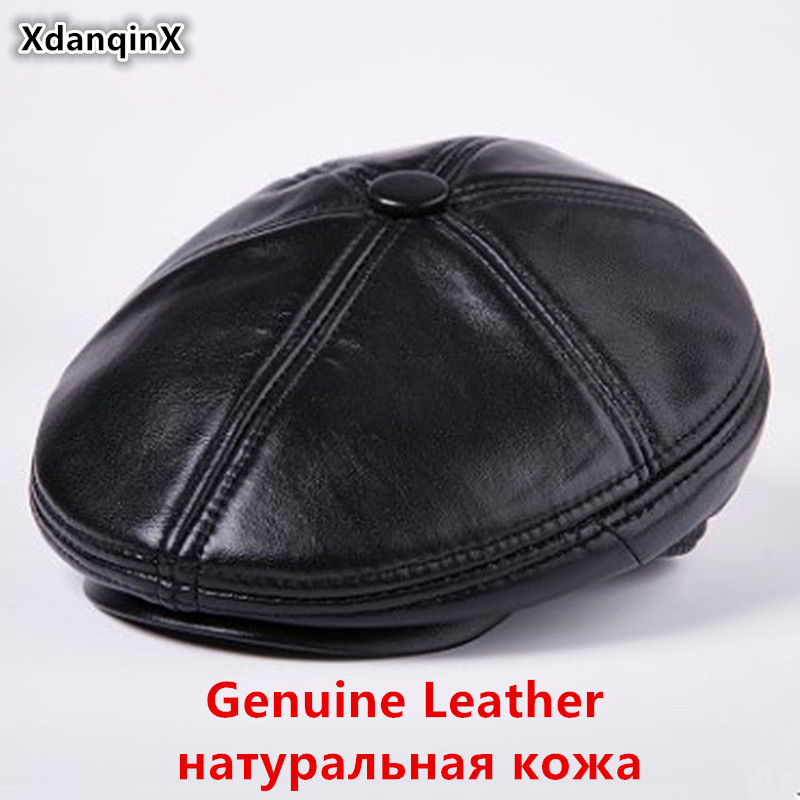 XdanqinX Winter Genuine Leather Hat Men's Plush Thick Warm Berets  New Elegant Men Sheepskin Leather Flat Cap Dad's Fashion Hats