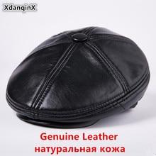 XdanqinX Winter Genuine Leather Hat Mens Plush Thick Warm Berets  New Elegant Men Sheepskin Flat Cap Dads Fashion Hats
