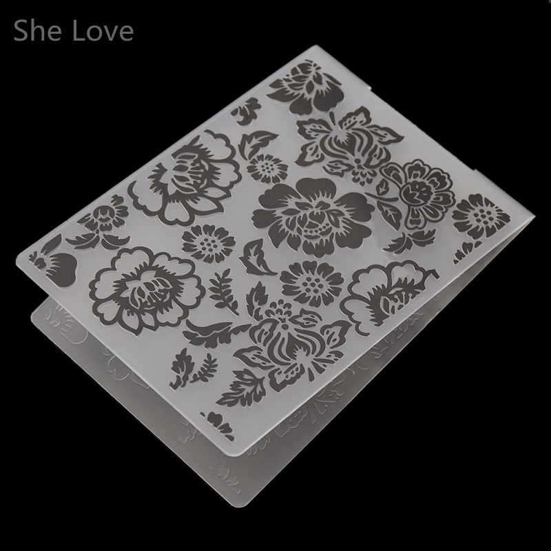 She Love Plastic Embossing Folder Peony Flower DIY Scrapbooking Photo Album Card Paper Craft Decoration plastic embossing foldet flower diy scrapbooking photo album card paper craft decoration template