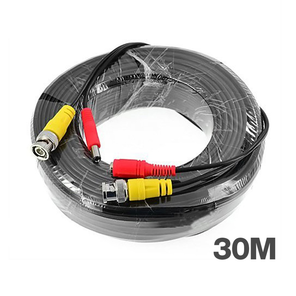 Tmezon BNC Video Power Coaxial Cable 30m 100FT Work For Analog AHD TVI CVI Security Surveillance Camera CCTV Accessories