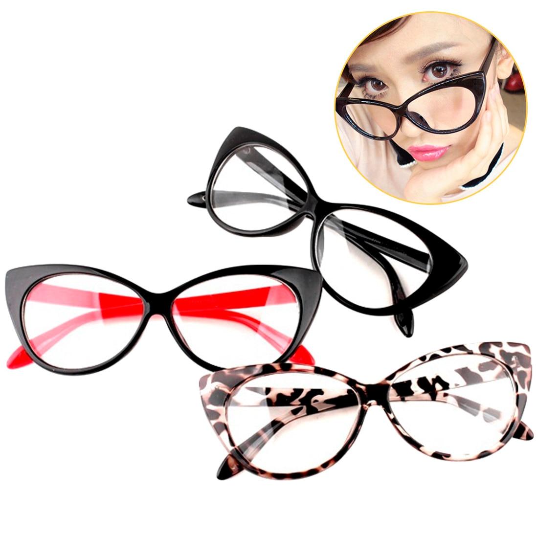 Brand Modern Elegant Cat Eyes Shape Glasses Frame For Ladies Acetate Optical Frames Retro Plastic Plain Glasses 5 Colors plastic