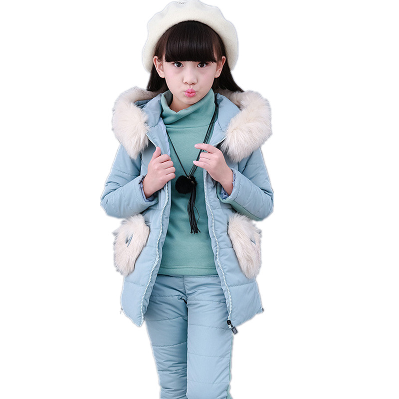Girl Winter Three-piece Fur Collar With Hood Cotton-padded Girl Clothes Warmth Coat Childern Clothes  Girl Pants  Warm WaistcoatGirl Winter Three-piece Fur Collar With Hood Cotton-padded Girl Clothes Warmth Coat Childern Clothes  Girl Pants  Warm Waistcoat