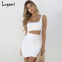 LOGAMI Sexy One Shoulder Summer Dress Women Sleeveless Backless Mini Bodycon Dress Ladies Elegant Wrap Club