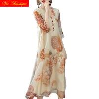 silk floral dress women's dresses 2018 summer casual beach long sundress maxi plus size boho celebrity white flower loose fairy