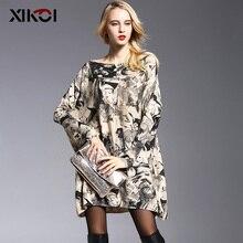 XIKOI Новый Дизайн женская Мода Свитера Batwing Рукавом Печати Slash Шеи Пуловеры Компьютеры Трикотажные Свитера Женщин 6011