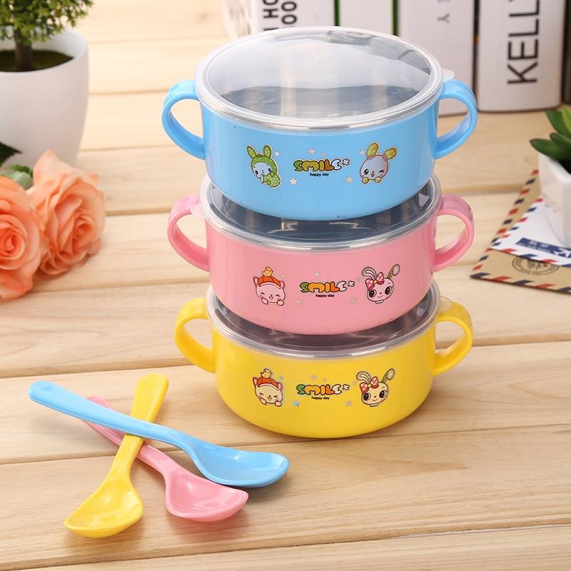 स्टेनलेस स्टील बेबी बाउल लंच बॉक्स बेबी फूड व्यंजन बच्चों के व्यंजनों का सेट सूप बेबी फीडिंग किड्स प्लेट के साथ