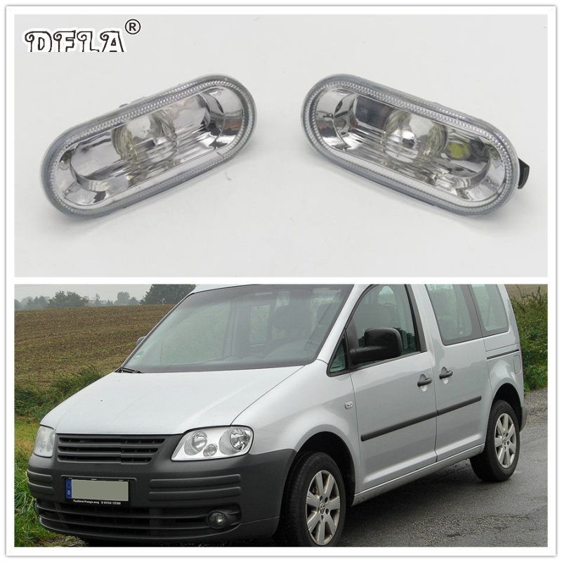 2pcs For VW Caddy 2004 2005 2006 2007 2008 Car-Styling Side Marker Turn Signal Light Lamp Repeater 2pcs for vw sharan 2001 2002 2003 2004 2005 car styling side marker turn signal light lamp repeater
