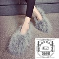 Faux Fur Shoes Plain Solid Color Gentlewomen Corduroy Luxury Shoes For Women Soft Leather Designer Brands Handmade Shoes Women