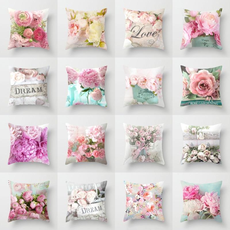 Elife Retro Green Leaves Rose Linen Cotton Cushion Case Flower Polyester Home Decor Bedroom Decorative Sofa Car Throw Pillows