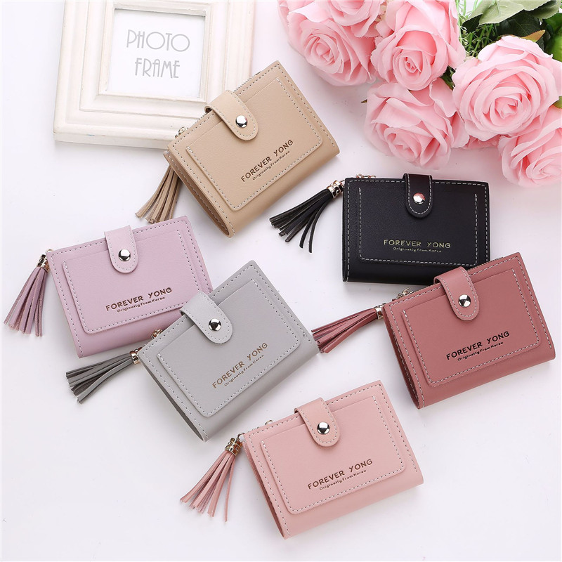 Brand Women Wallets Short Tassels Leather Coin Purses Credit Card Holder Wallet Female Small Wallet Clutch Bags Zipper Buckle