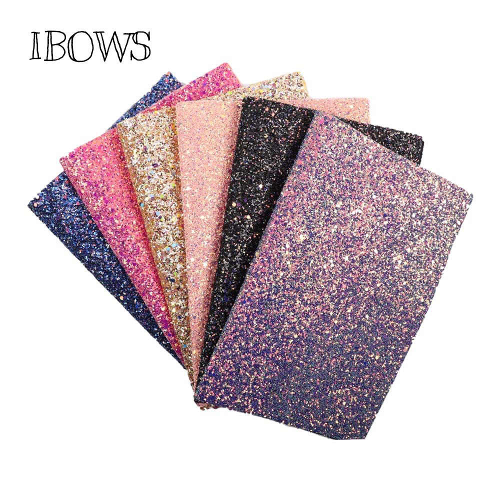 IBOWS 22*30CM Glitter Synthetic Leather Fabric Sheets Chunky Glitter Fabric for Party Wedding Decoration DIY Hair Bows Materials