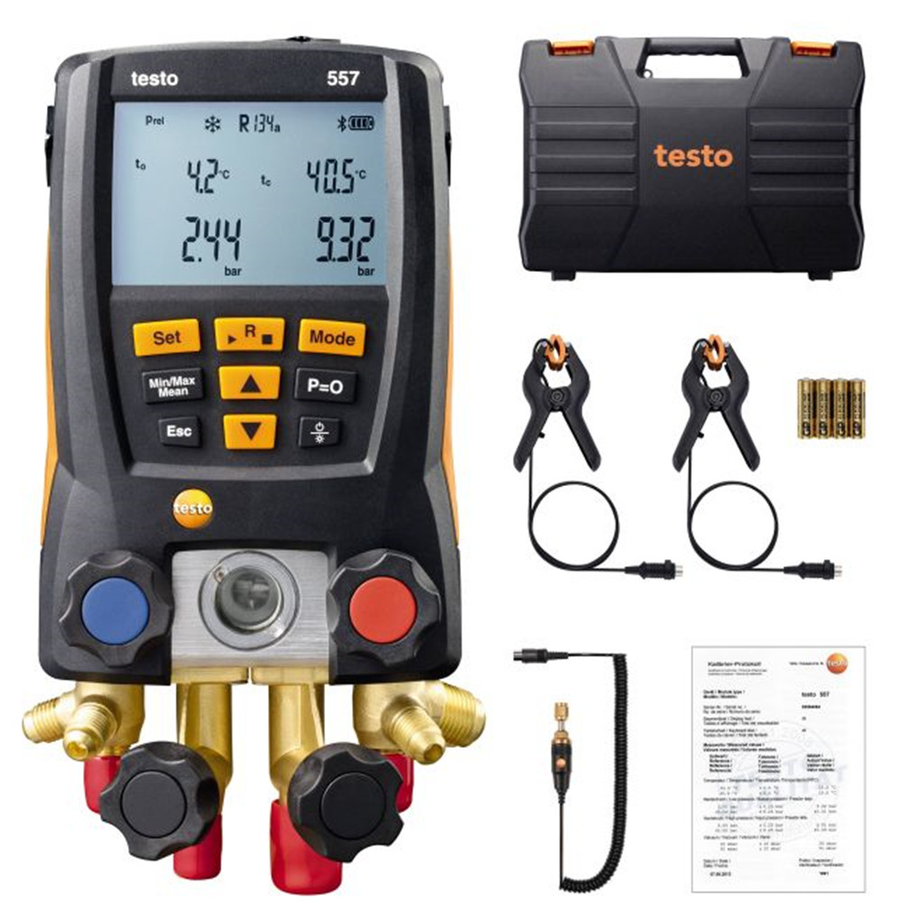 Digital Manifold Gauge Testo 557 2pcs clamp temperature probes 4 Way Valve Digital Manifold Bluetooth 0563